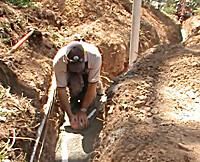 Replacing a long sewer pipe in Aranda