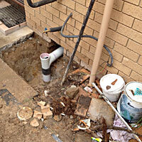 repaired sewer drain from under the house at a rental proerty in Belconnen Canberra