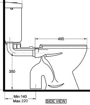 S trap toilet bowl set out