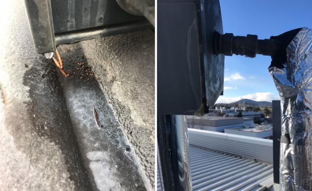 Frozen dux solar hot water-panel in Canberra winter